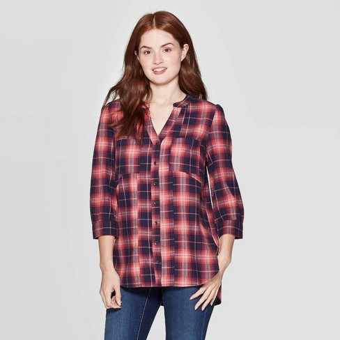 Women's Plaid 3/4 Sleeve V-Neck Button-Down Shirt With Seaming - Knox Rose™ Navy - image 1 of 2