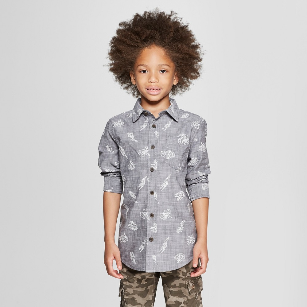 Boys' Dinosaur Print Long Sleeve Button-Down Shirt - Cat & Jack Charcoal Gray Xxl
