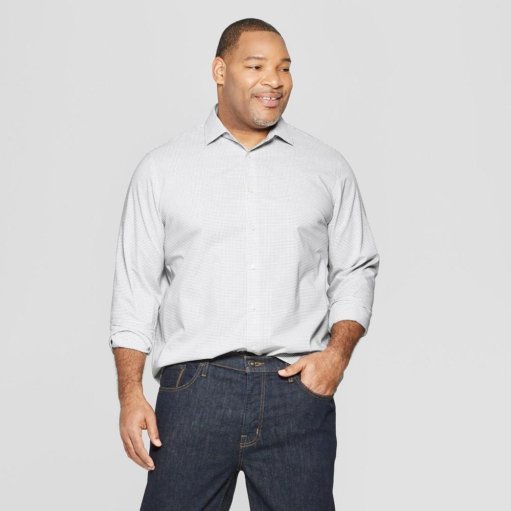 Men's Tall Plaid Standard Fit Long Sleeve Button-Down Shirt - Goodfellow & Co White Xlt