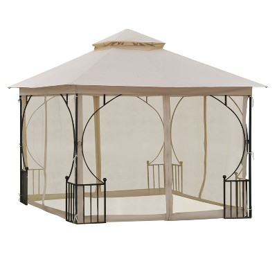 Outsunny 10' x 10' Steel Outdoor Garden Patio Gazebo Canopy with Mosquito Netting Walls