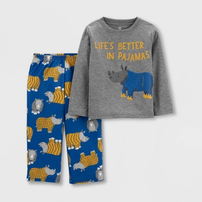 Toddler Boys' 2pc Rhino Pajama Set - Just One You® made by carter's Blue/Gray 18M