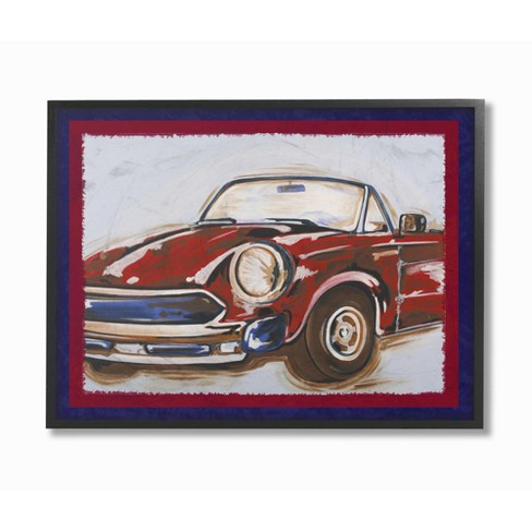"Blue and Red Vintage Car Framed Giclee Texturized Art (11""x14""x1.5"") - Stupell Industries - image 1 of 3"