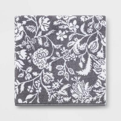 Performance Bath Sheet Radiant Dark Gray Floral - Threshold™