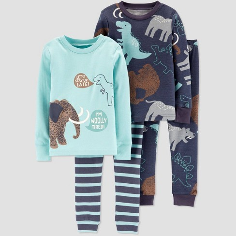 Toddler Boys' 4pc Wolly & Mammoth 100% Cotton Pajama Set - Just One You® made by carter's Blue - image 1 of 1