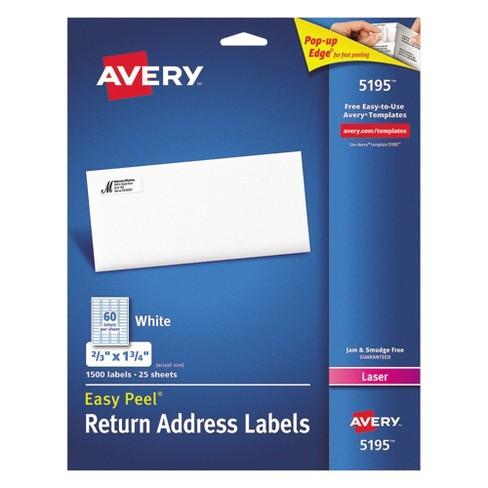 Avery 2 3 X 1 4 Laser Easy L Address Labels White 1500 Pk