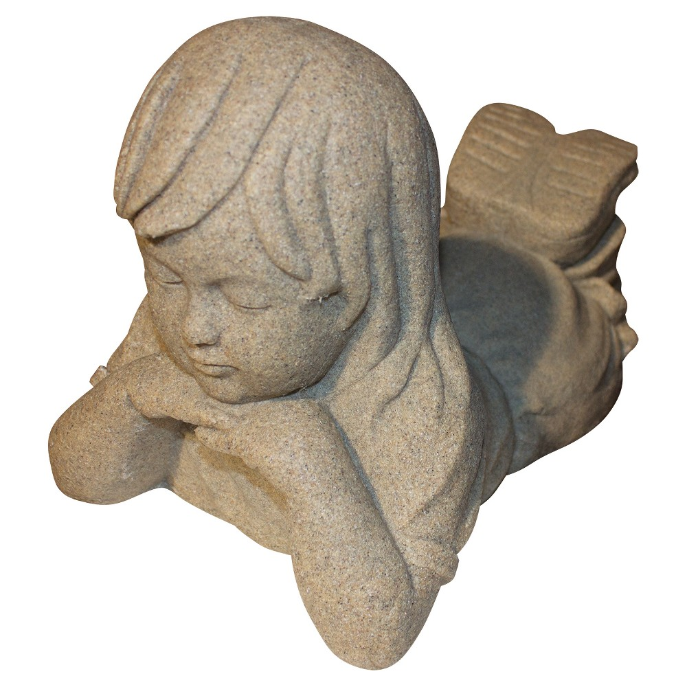 "Image of ""10.88"""" Garden Stone Day Dreamer Girl- Sand - Emsco, White"""