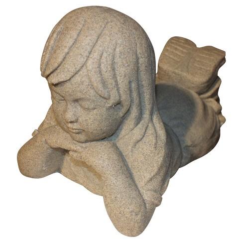 """10.88"""" Garden Stone Day Dreamer Girl- Sand - Emsco - image 1 of 1"""