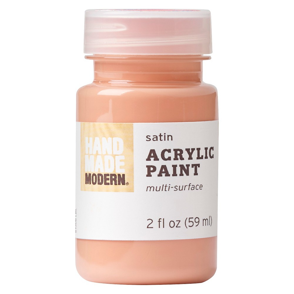 Image of 2oz Satin Acrylic Paint - Coral Hand Made Modern , Pink