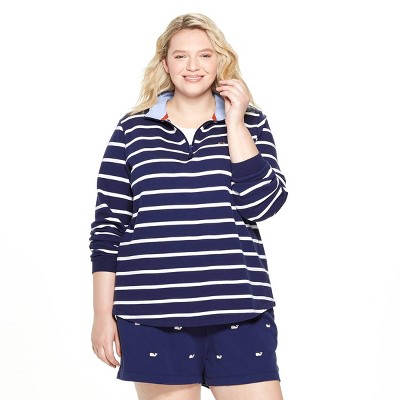 Women's Plus Size Striped 1/4 Zip Pullover   Navy   Vineyard Vines® For Target by Navy