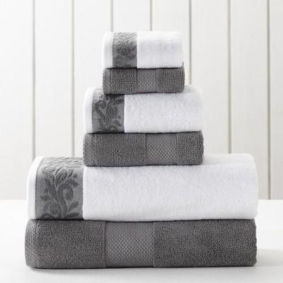 Modern Threads 6-Piece Towel Set With Filgree Jacquard Border.