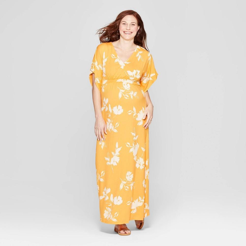 Maternity Floral Print Kimono Short Sleeve Maxi Dress - Isabel Maternity by Ingrid & Isabel Yellow M, Infant Girl's