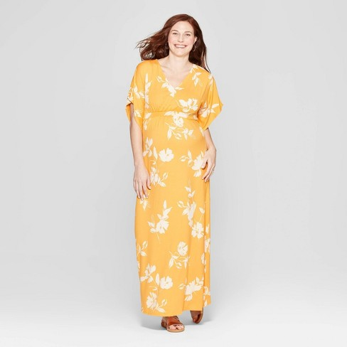 b64e769906c2 Maternity Floral Kimono Sleeve Maxi Dress - Isabel Maternity by Ingrid &  Isabel™ Yellow