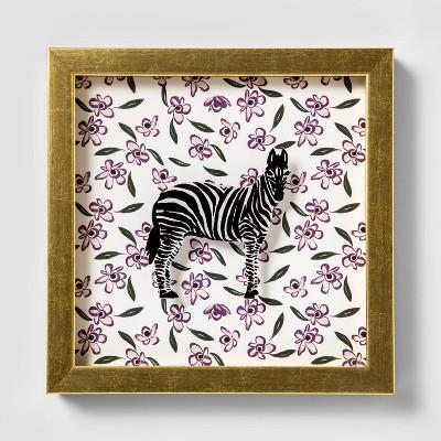 7.75 x9  Zebra Shadowbox Framed Wall Poster Print - Opalhouse™