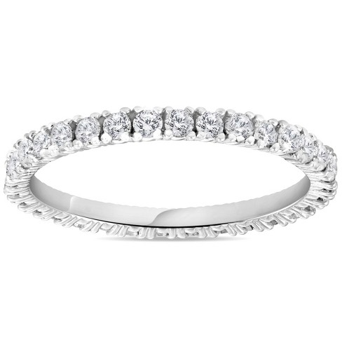 1//2 Ct Diamond Eternity Wedding Stackable Womens Ring 14K White Gold 1.7mm Wide