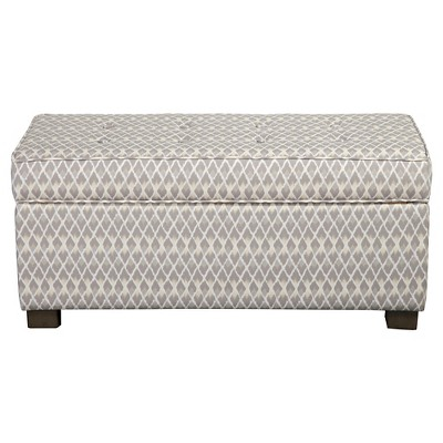 Homepop Gray Diamond Collection Storage Bench - Gray And Taupe Small Diamond