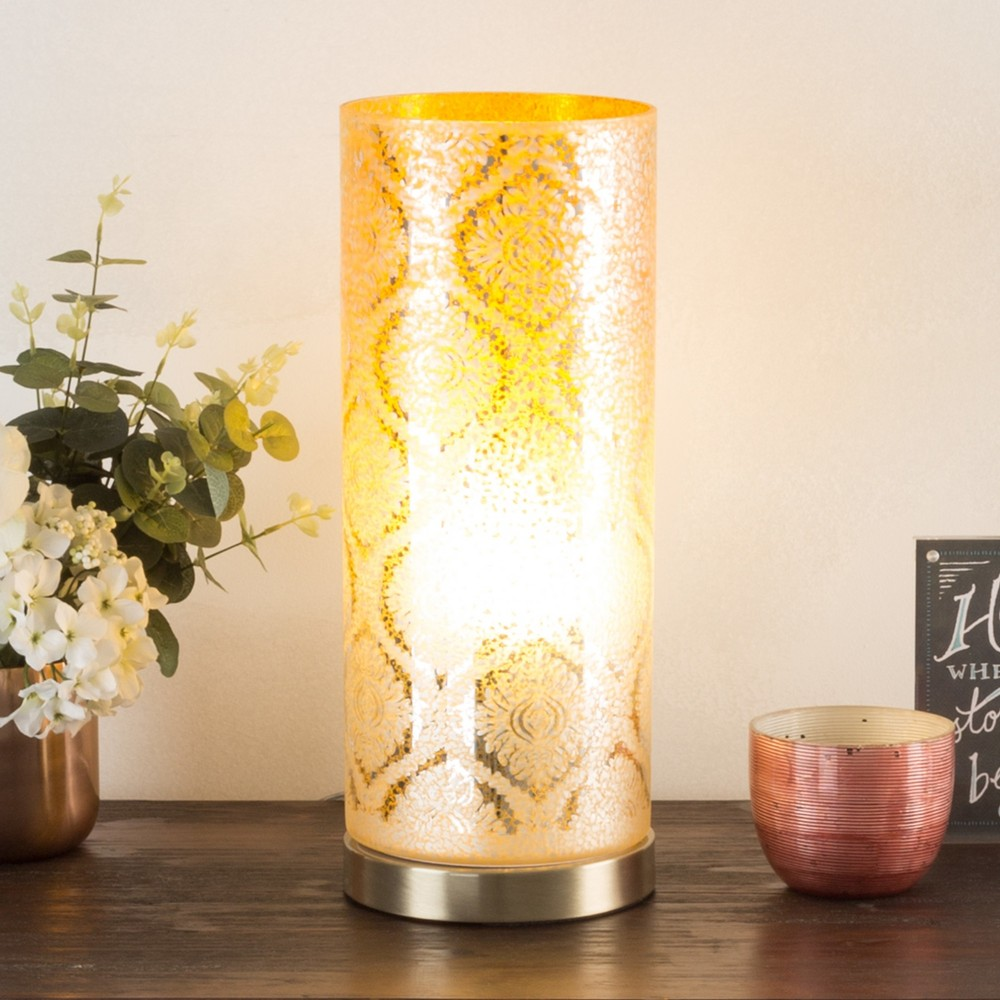 Image of Embossed Trellis Pattern LED Uplight Table lamp Light Gold (Includes Energy Efficient Light Bulb) - Lavish Home