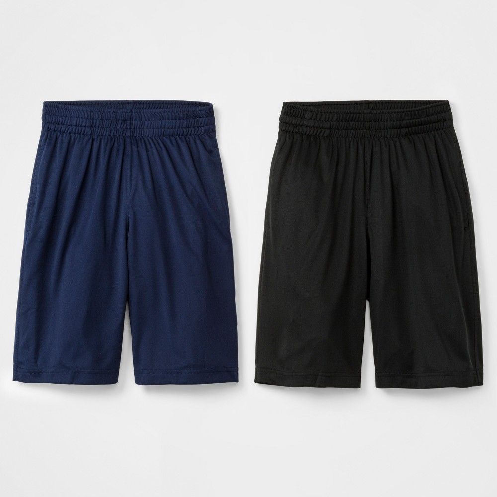 Image of Boys' 2pk Active Shorts - Cat & Jack Blue/Black L, Boy's, Size: Large