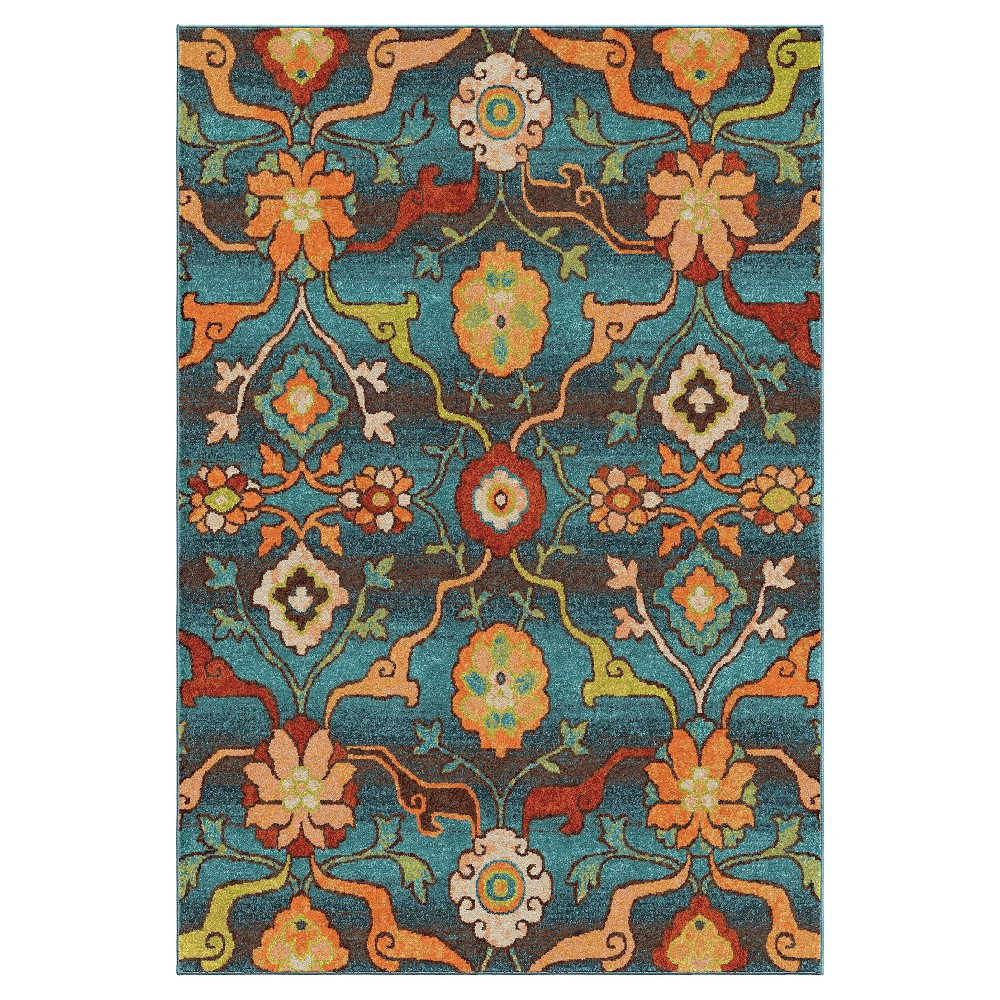 Blue Abstract Woven Area Rug - (7'10