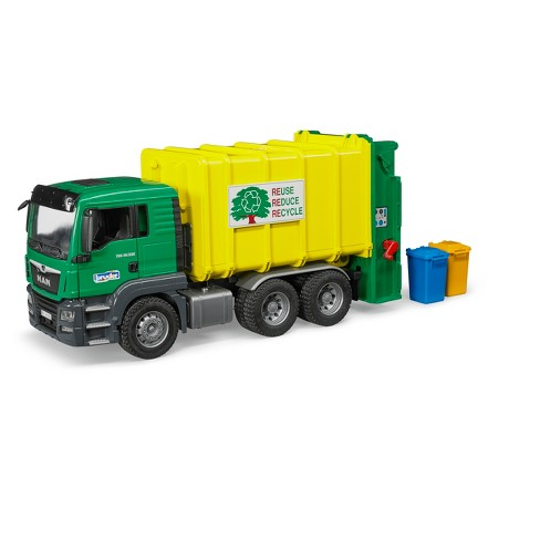 Bruder Toys MAN TGS Rear-Loading Green Garbage Truck - 1/16 Scale Realistic - Functional Toy Garbage Collection Vehicle - image 1 of 4