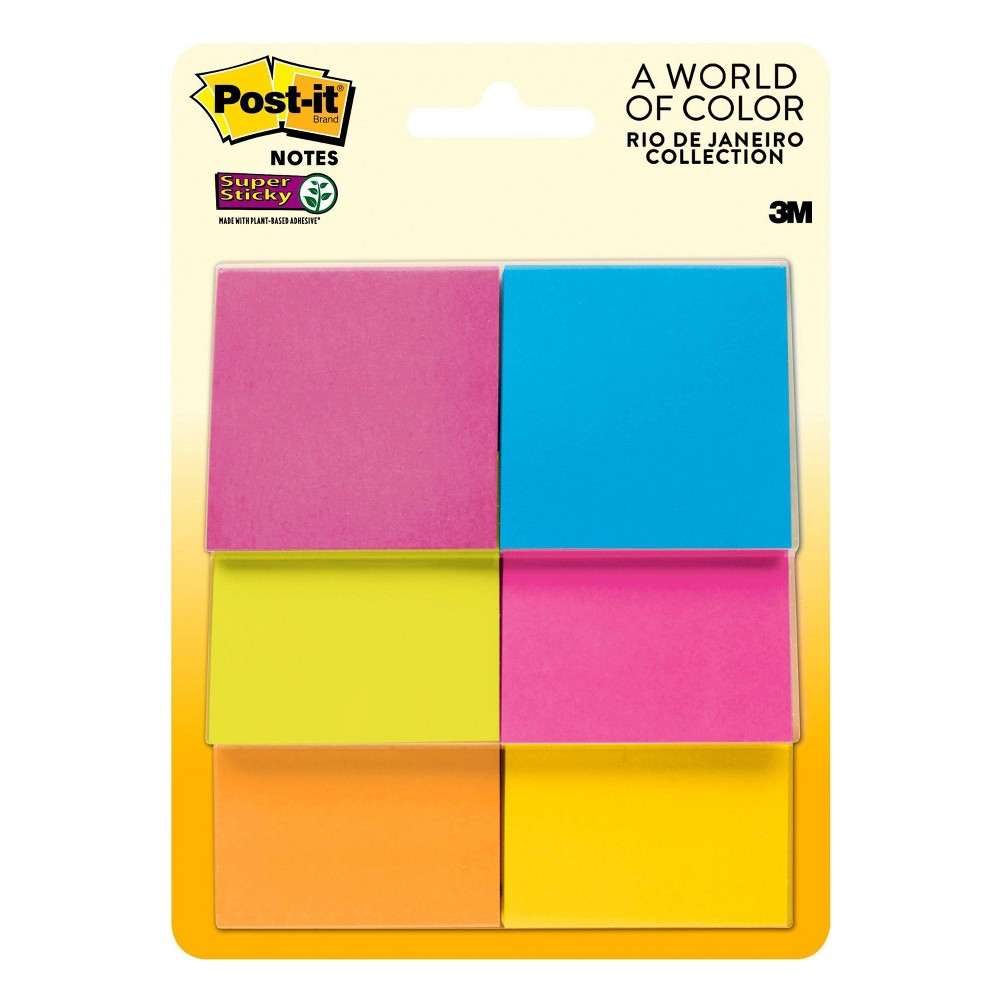 Image of Post-it Super Sticky Notes, 2 in x 2 in, 6 Pads/Pack, 45 Sheets/Pad