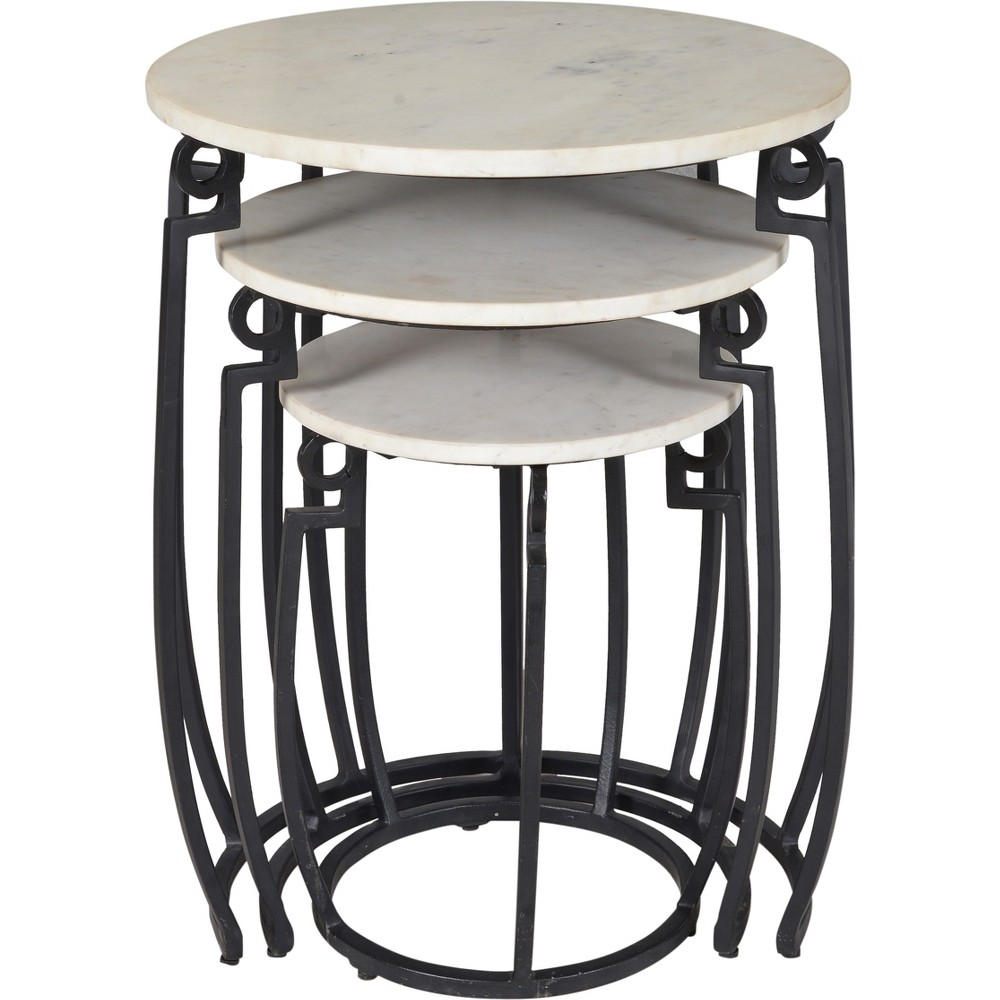 Set Of 3 Contemporary Marble Nesting Tables Black - Treasure Trove