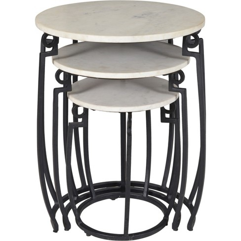 Set Of 3 Contemporary Marble Nesting Tables Black - Treasure Trove - image 1 of 4