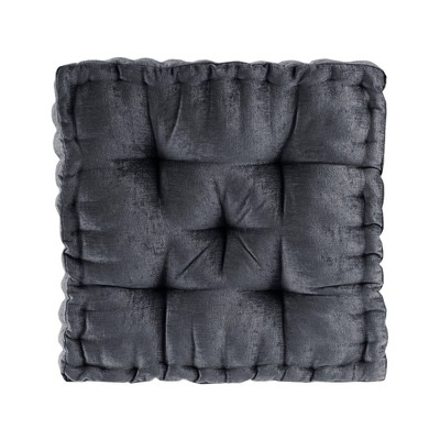 """20""""x20"""" Diah Poly Chenille Square Floor Pillow Cushion Charcoal"""