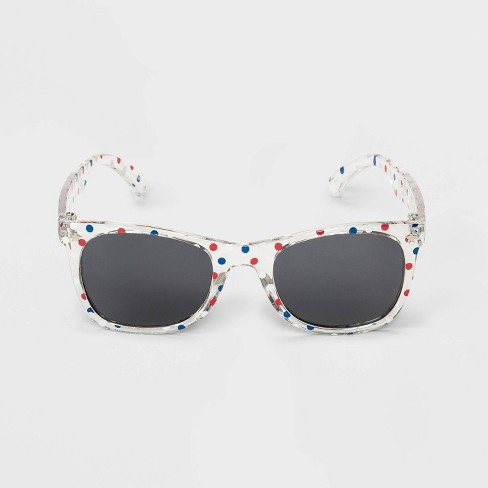 Girls' Polka Dots Sunglasses - Cat & Jack™ Clear/Red - image 1 of 1