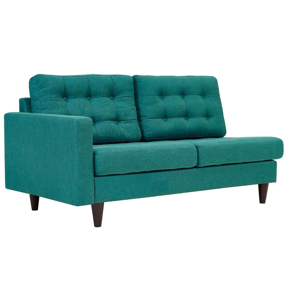 Empress LeftFacing Upholstered Fabric Loveseat Teal (Blue) - Modway