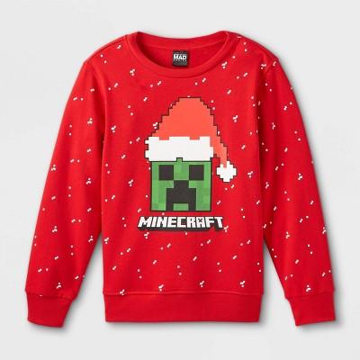 Kids' Minecraft Santa Hat Pullover Sweatshirt - Red
