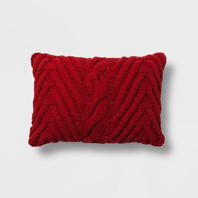 Chunky Knit Lumbar Throw Pillow Red - Threshold™
