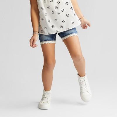 Girls Crochet Trim Denim Shorts - Cat & Jack™ Medium Blue XS