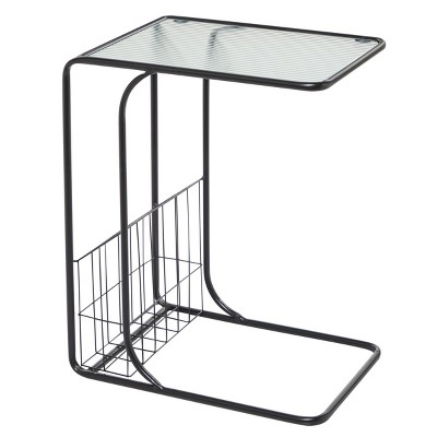 Contemporary Metal and Glass Accent Table Black - Olivia & May