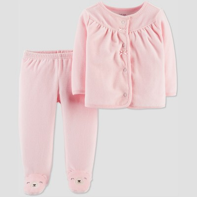 Baby Girls' 2pc Velour Bear Set - Just One You® made by carter's Pink 3M