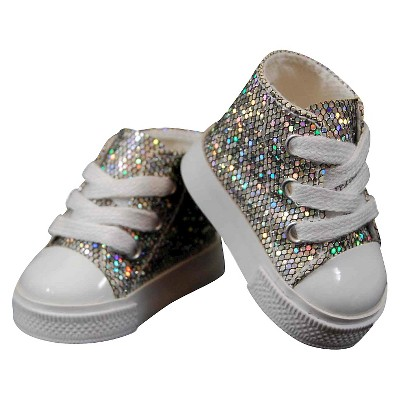 The Queen's Treasures 18 Inch Doll Clothes Accessory, Silver Sparkle Sneakers Plus Authentic Shoe Box