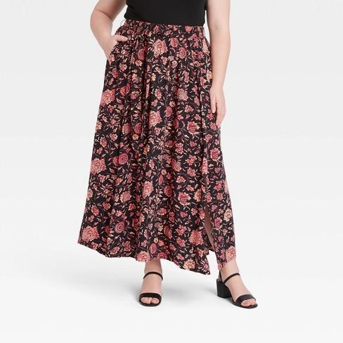 Women's Plus Size Floral Print Maxi Skirt - Ava & Viv™ Brown - image 1 of 3