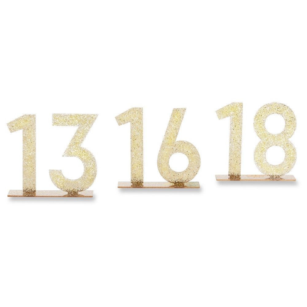 6ct Kate Aspen Gold Glitter Acrylic Table Numbers (13-18)