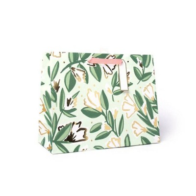 Large Floral Gift Bag with Foil White/Green/Gold - Spritz™