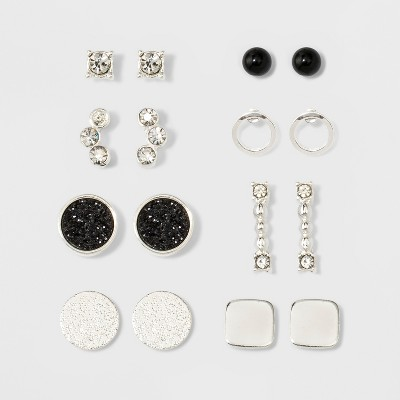One Clear Stone, One Open Circle, Two Flat Circles, One Square, One Bar, One Pave Circle & Cluster of Two Stones Earring Set - A New Day™ Silver
