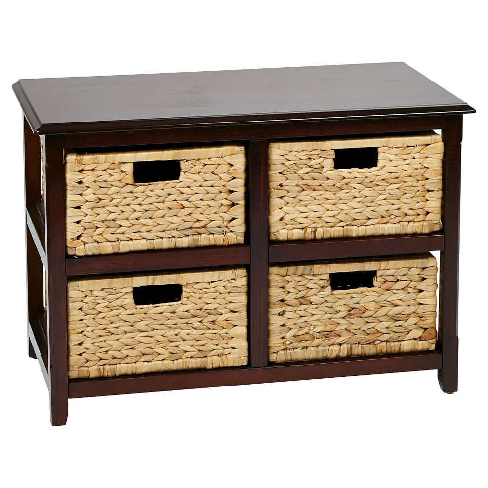 Image of Seabrook Two-Tier Storage Unit With Espresso (Brown) Finish and Natural Baskets - Office Star
