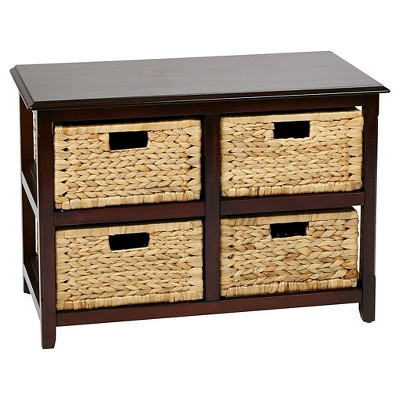 Seabrook Two Tier Storage Unit With Espresso Finish And Natural Baskets    Office Star