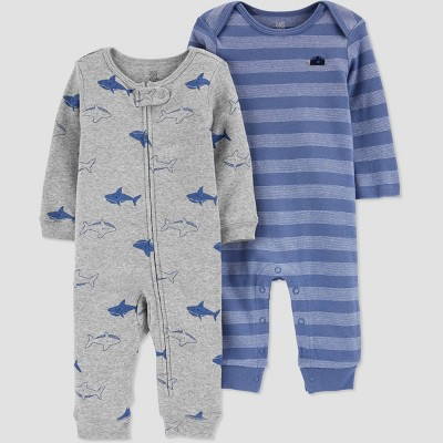 Baby Boys' 2pk Shark Jumpsuit - Just One You® made by carter's Blue