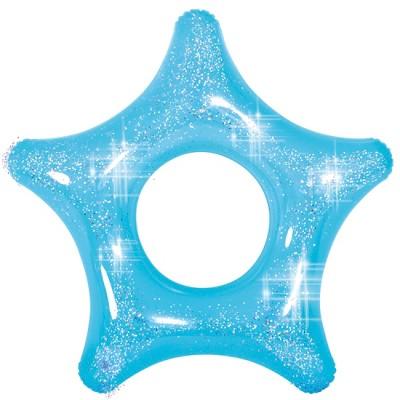 """Pool Central 43"""" Blue Glitter Star Inner Tube Pool Float"""