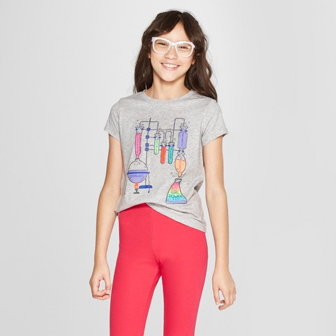 014c8d8762619 Girls  Girl Power Short Sleeve Graphic T-Shirt - Cat   Jack™ Heather Gray