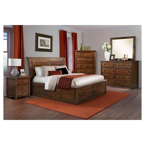 Delaware Storage Bed Queen Deep Chestnut - Picket House Furnishings ...