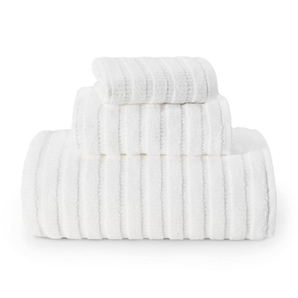 Image of 3pc Preston Solid Towel Set White - Eddie Bauer