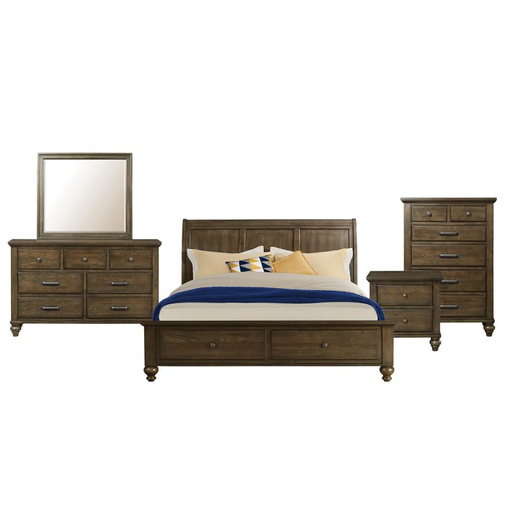 Image of 5pc Channing Queen 2 Drawer Storage Bedroom Set Dark Walnut - Picket House Furnishings