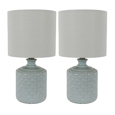 "17"" (Set of 2)Della Ceramic LED Table Lamps Blue (Includes Energy Efficient Light Bulb)- Decor Therapy"