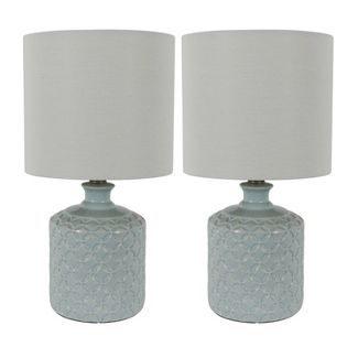 """17"""" (Set of 2) Della Ceramic LED Table Lamps Blue (Includes Energy Efficient Light Bulb) - Decor Therapy"""