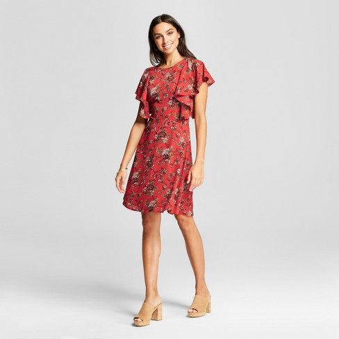 Women's Floral Cascade Sleeve Mini Dress - Éclair Red - image 1 of 2